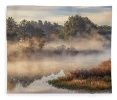 Morning Mist On The Sudbury River Fleece Blanket