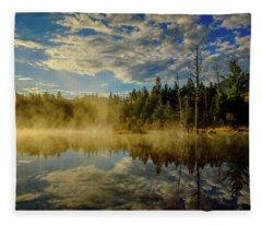 Morning Mist, Wildlife Pond  Fleece Blanket