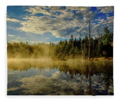 Morning Mist, Wildlife Pond  Fleece Blanket