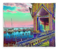 Morning Pink Marquette Ore Dock Fleece Blanket