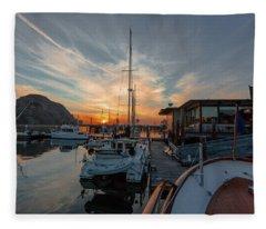Morro Bay Sunset Fleece Blanket