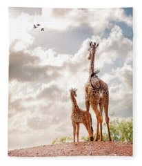 Mother And Baby Giraffe Looking Out Fleece Blanket