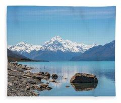 Mount Cook From Lake Pukaki Fleece Blanket