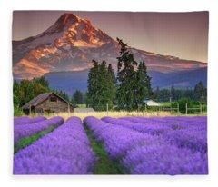 Mount Hood Lavender Field  Fleece Blanket