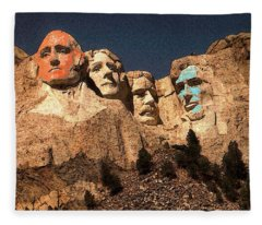 Mount Rushmore Red And Blue Drawing Fleece Blanket