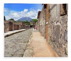 Mount Vesuvius And The Ruins Of Pompeii Italy Fleece Blanket