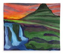 Mountain And Waterfall In The Rays Of The Setting Sun Fleece Blanket