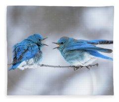 Mountain Bluebirds On A Snowy Day Fleece Blanket
