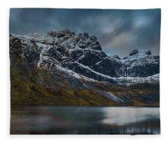 Mountain Lake In Norway On Lofoten Near Nusfjord Fleece Blanket