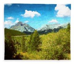 Mountain Landscape Glacier National Park. Fleece Blanket