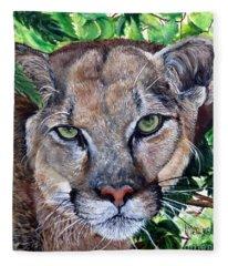 Mountain Lion Portrait Fleece Blanket