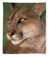 Mountain Lion Portrait Wildlife Rescue Fleece Blanket