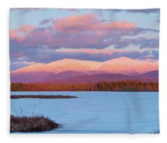 Mountain Views Over Cherry Pond Fleece Blanket