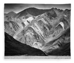 Fleece Blanket featuring the photograph Mountains At Pangong by Whitney Goodey