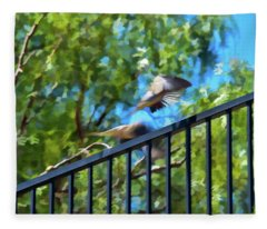 Mourning Doves Motion Capture Abstract 1  Fleece Blanket