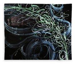 Movement Of The Universe. Calligraphic Abstract Fleece Blanket