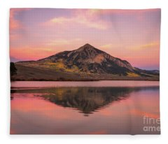 Mt Crested Butte Reflection Fleece Blanket