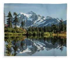 Mt. Shuksan In The Fall Fleece Blanket
