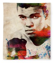 Muhammad Ali Watercolor Portrait Fleece Blanket