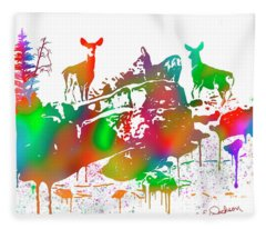 Mule Deer Skyline Drip Art Fleece Blanket
