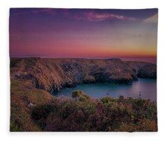 Mullion Cove Cornwall Sunset Fleece Blanket