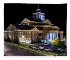 Municipal Center At Night - North Augusta Sc Fleece Blanket