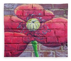Mural Of Flower On Brick Wall Fleece Blanket