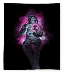 Mushroom Cosmonaut Space Traveller Fleece Blanket