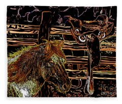 Mustang Horse And A Western Saddle Fleece Blanket