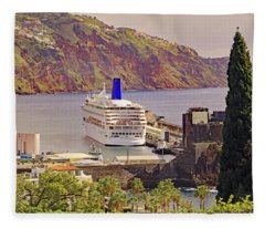 Mv Oriana In Funchal Fleece Blanket