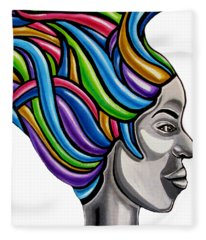 Colorful Abstract Black Woman Face Hair Painting Artwork - African Goddess Fleece Blanket