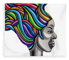 Colorful 3d Abstract Painting, Black Woman, Colorful Hair Art Artwork - African Goddess Fleece Blanket