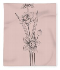 Narcissus Blush Pink Flower Fleece Blanket