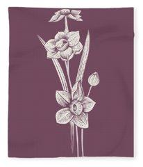 Narcissus Purple Flower Fleece Blanket