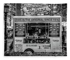 Nathans Food Truck B And W Fleece Blanket