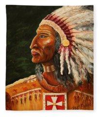 Native American Indian Chief Fleece Blanket