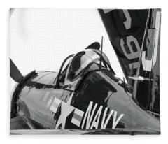 Navy Corsair In Black And White Fleece Blanket