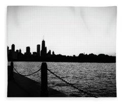 Navy Pier Monochrome  Fleece Blanket