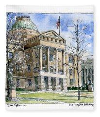 Nc Capitol In Winter Fleece Blanket