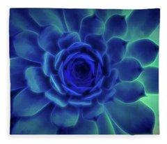 Neon Blue Sempervivum Fleece Blanket