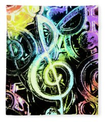 Neon Notes Fleece Blanket