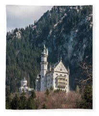 Neuschwanstein Castle On The Hill 2 Fleece Blanket