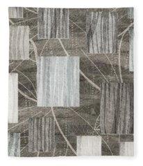 Neutral Leaf Print Squares Cream Fleece Blanket
