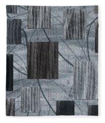 Neutral Toned Leaf Square Print Fleece Blanket