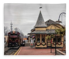 New Hope Train Station At Christmas Fleece Blanket