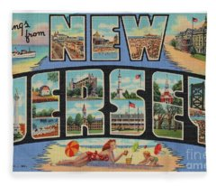New Jersey Greetings - Version 1 Fleece Blanket