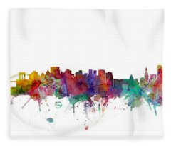 New York And Miami Skylines Mashup Fleece Blanket