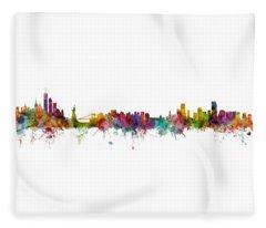 New York And Miami Skylines Mashup Fleece Blanket