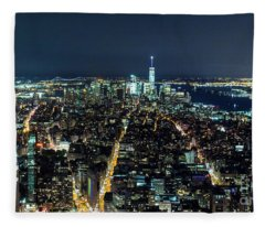 New York City At Night 1 Fleece Blanket