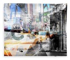 New York City Geometric Mix No 9 Fleece Blanket